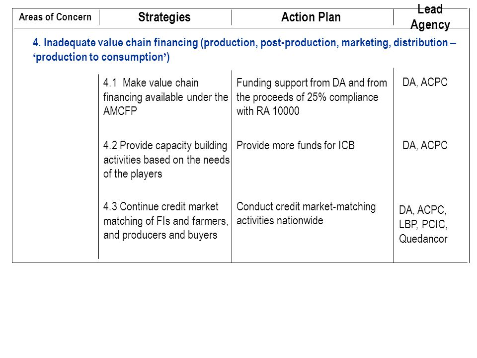 Strategies Action Plan Lead Agency