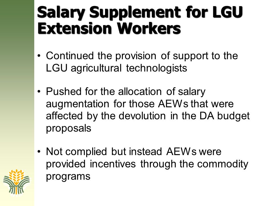 Salary Supplement for LGU Extension Workers