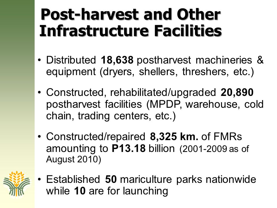 Post-harvest and Other Infrastructure Facilities