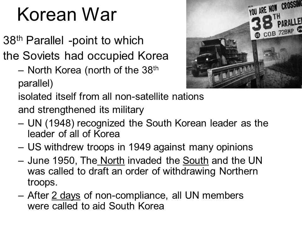 Korean War 38th Parallel -point to which
