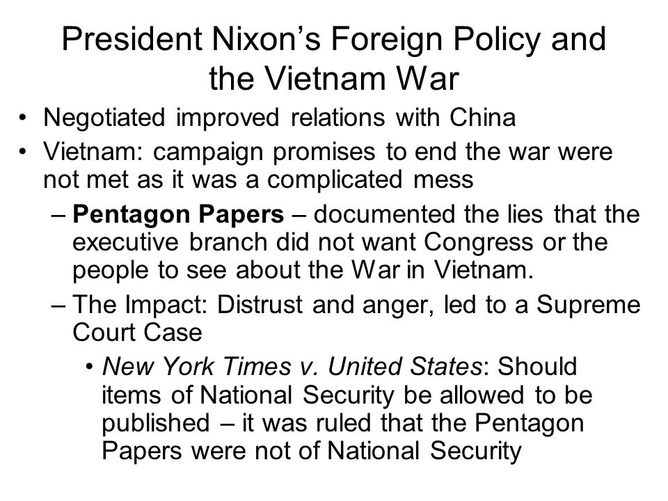 President Nixon's Foreign Policy and the Vietnam War