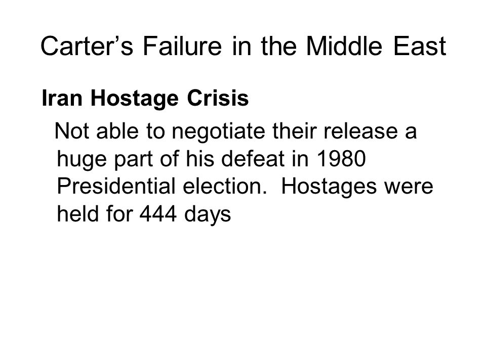 Carter's Failure in the Middle East