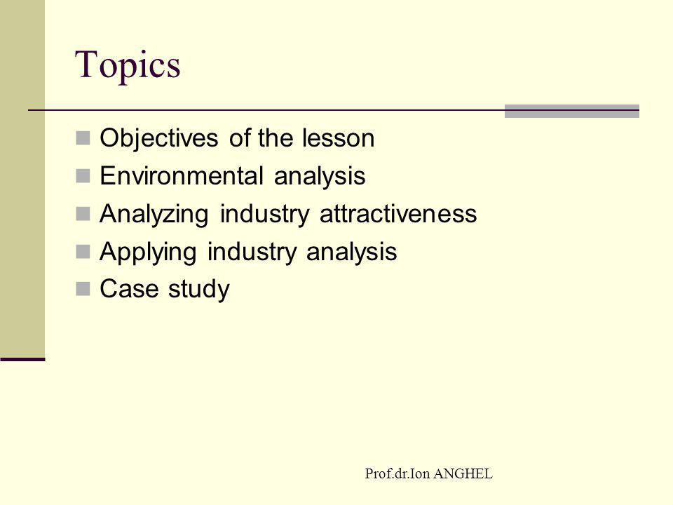 Topics Objectives of the lesson Environmental analysis