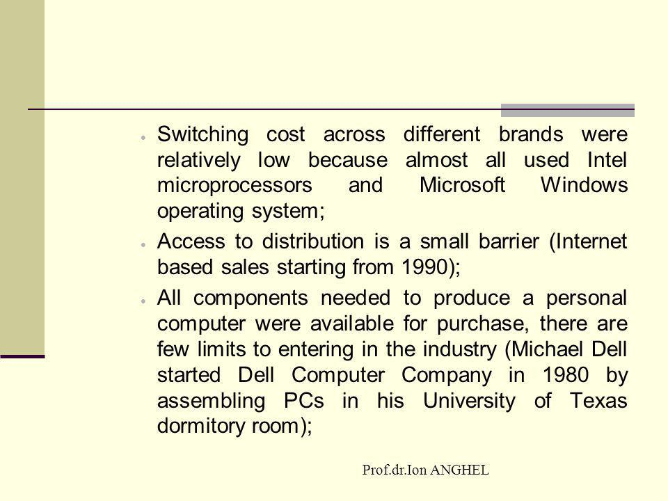 Switching cost across different brands were relatively low because almost all used Intel microprocessors and Microsoft Windows operating system;