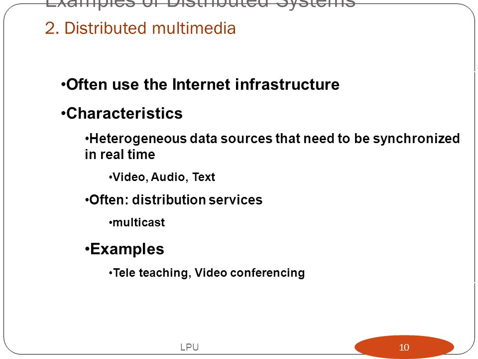 Examples of Distributed Systems 2. Distributed multimedia