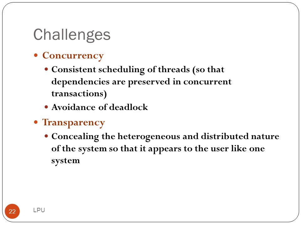 Challenges Concurrency Transparency
