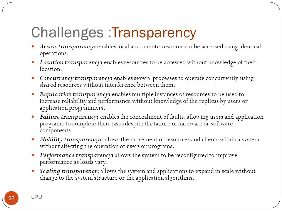 Challenges :Transparency