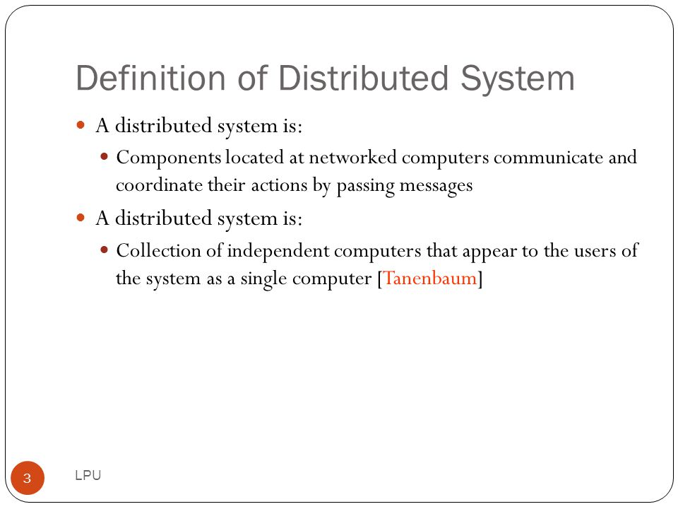 Definition of Distributed System