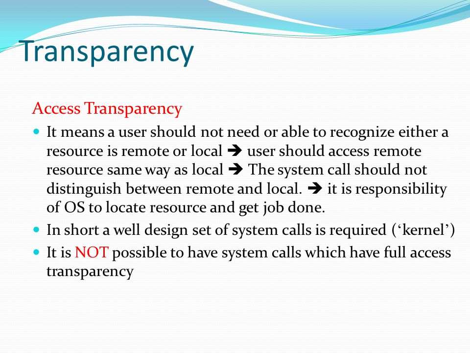 Transparency Access Transparency