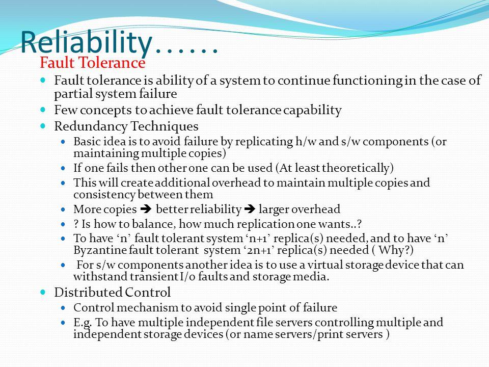 Reliability…… Fault Tolerance