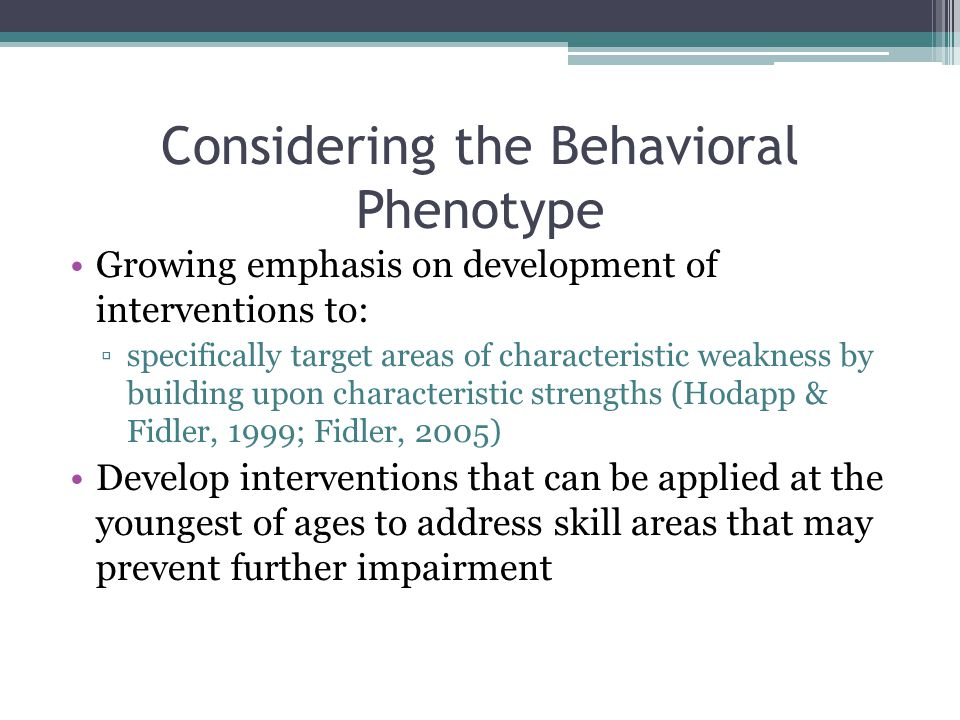 Considering the Behavioral Phenotype