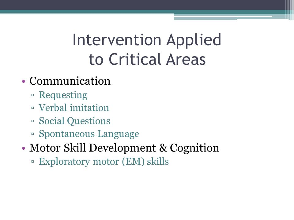 Intervention Applied to Critical Areas