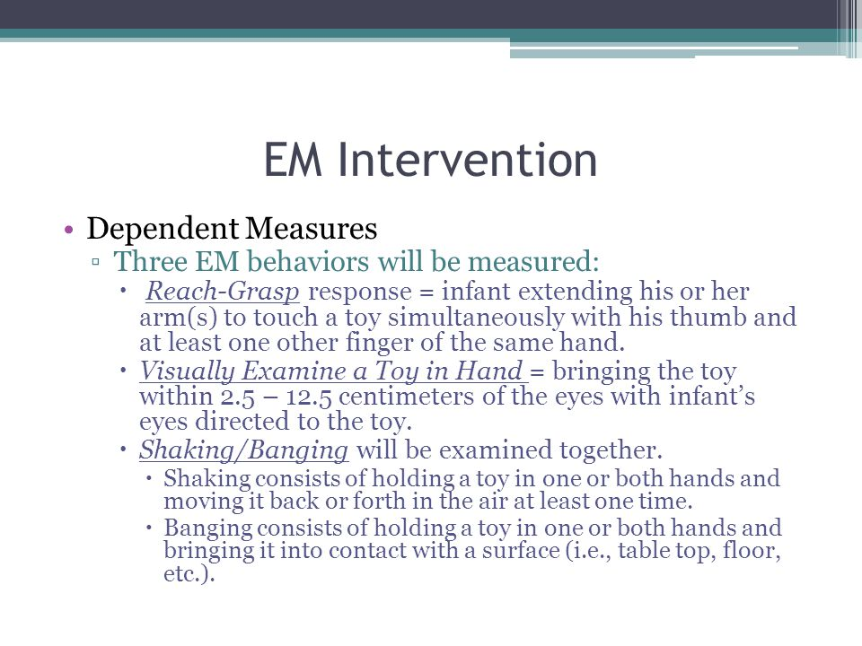 EM Intervention Dependent Measures