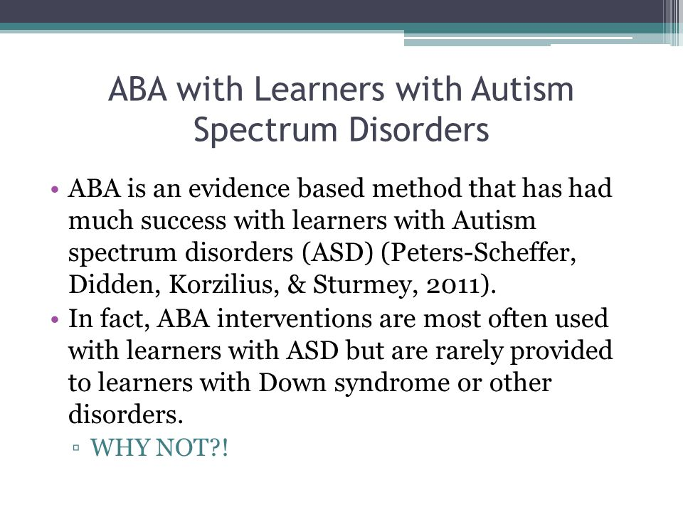 ABA with Learners with Autism Spectrum Disorders