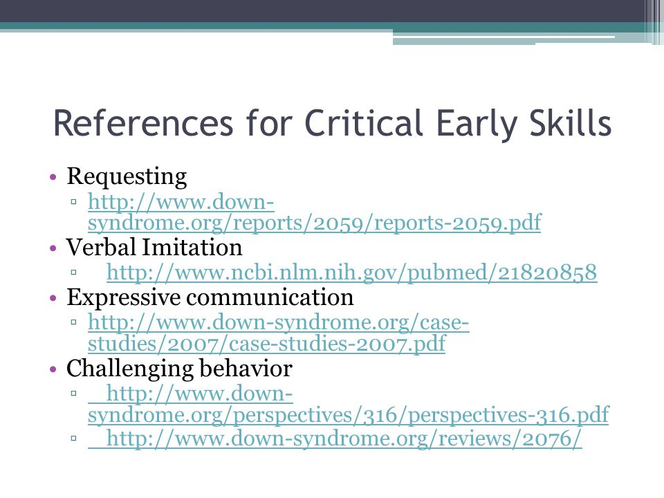 References for Critical Early Skills