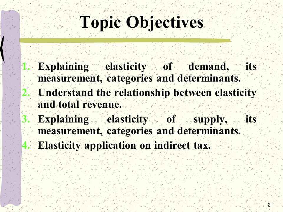 Topic Objectives Explaining elasticity of demand, its measurement, categories and determinants.