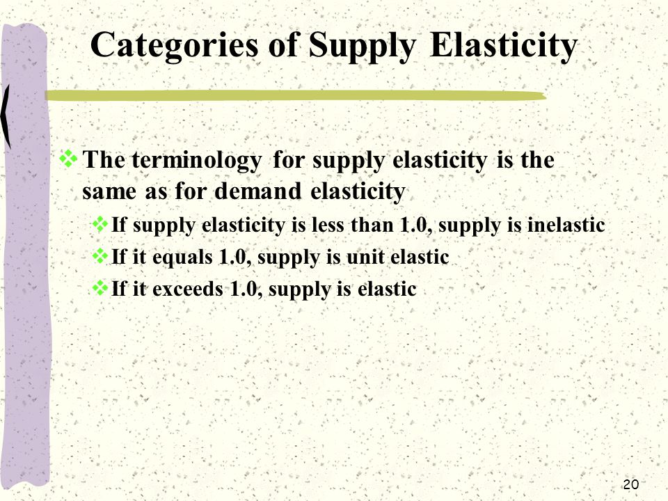 Categories of Supply Elasticity