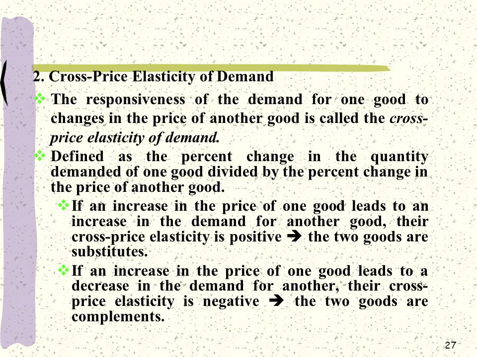 2. Cross-Price Elasticity of Demand