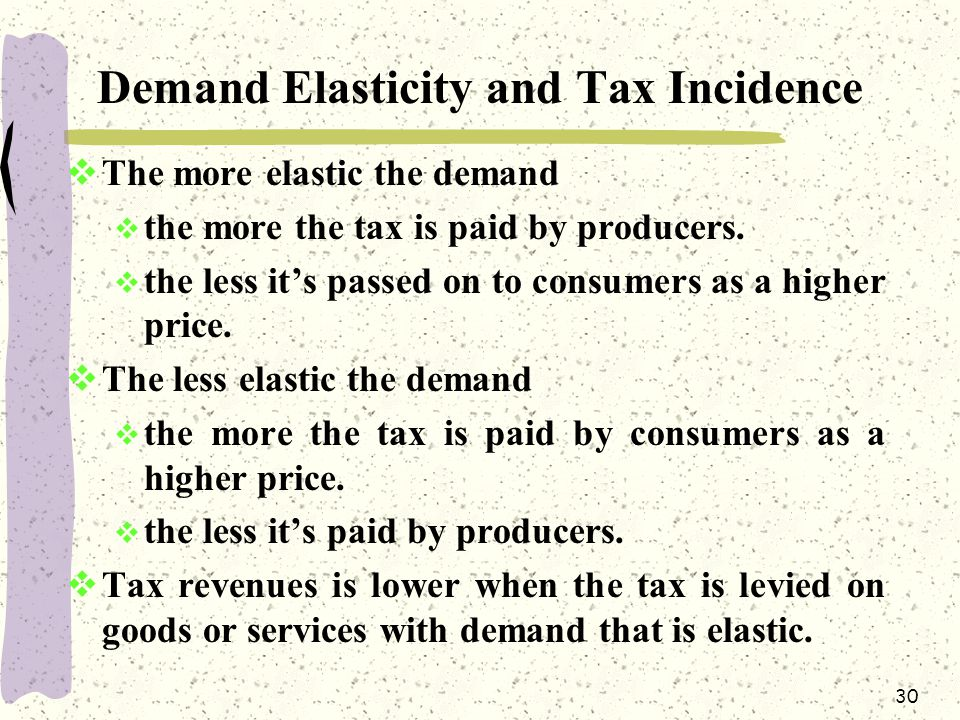 Demand Elasticity and Tax Incidence