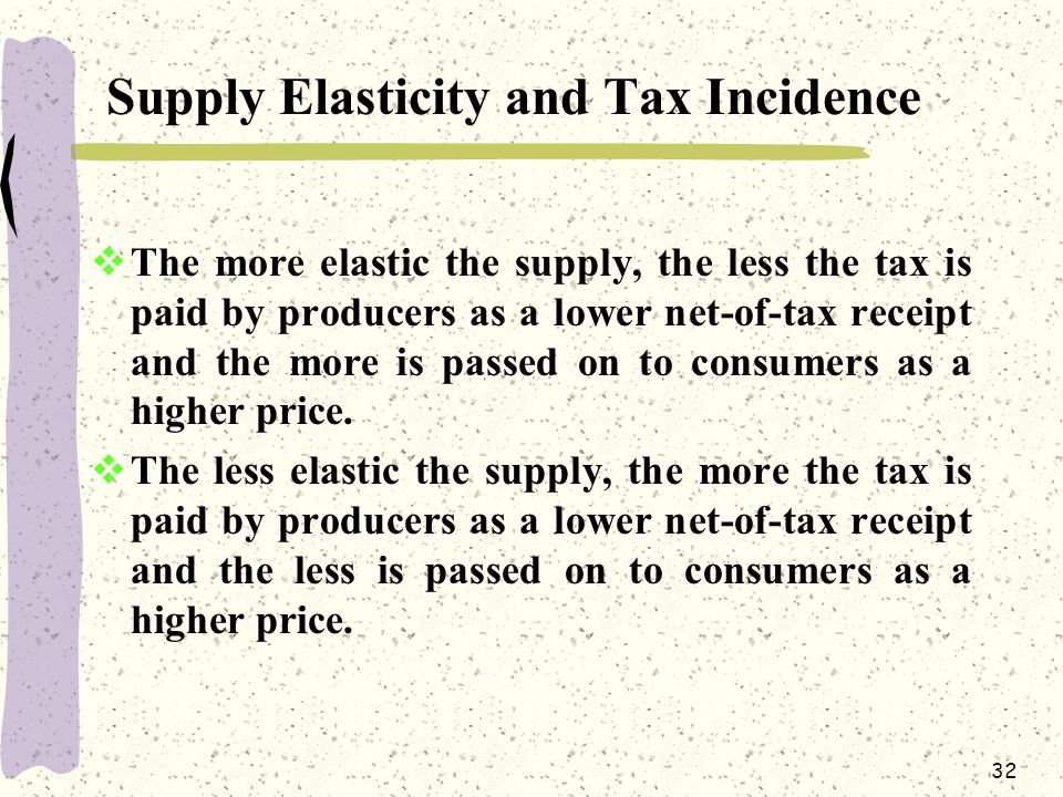 Supply Elasticity and Tax Incidence
