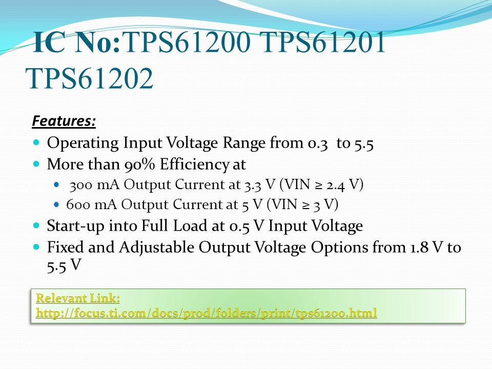 IC No:TPS61200 TPS61201 TPS61202 Features:
