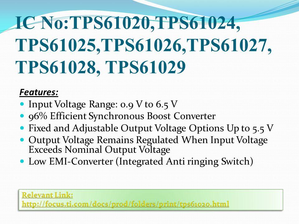 IC No:TPS61020,TPS61024, TPS61025,TPS61026,TPS61027, TPS61028, TPS61029