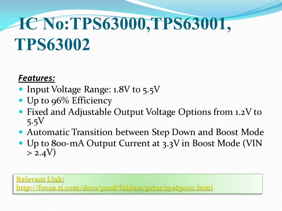 IC No:TPS63000,TPS63001, TPS63002 Features: