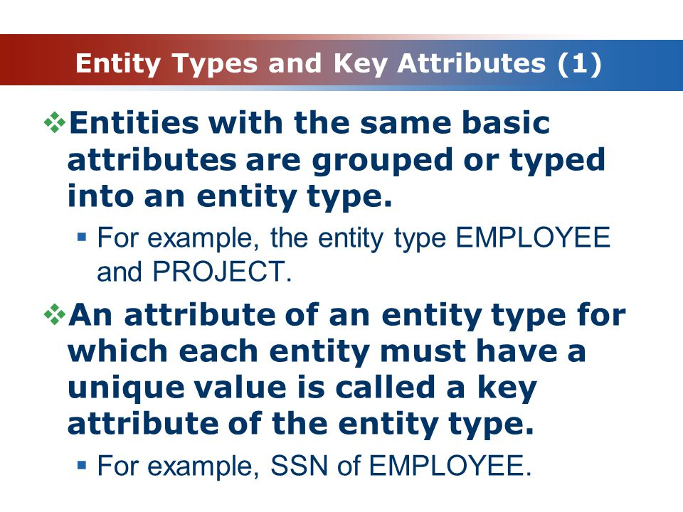Entity Types and Key Attributes (1)