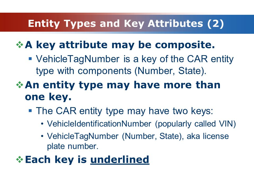 Entity Types and Key Attributes (2)