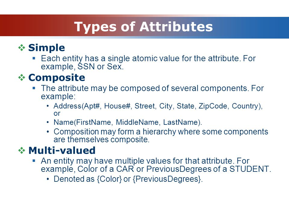 Types of Attributes Simple Composite Multi-valued