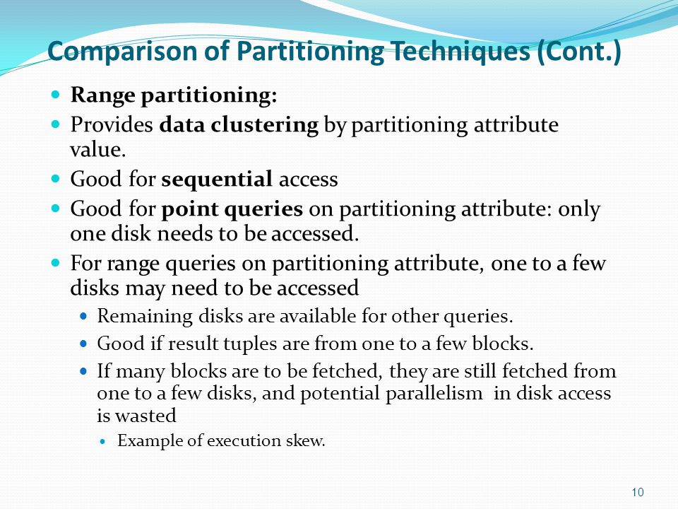 Comparison of Partitioning Techniques (Cont.)