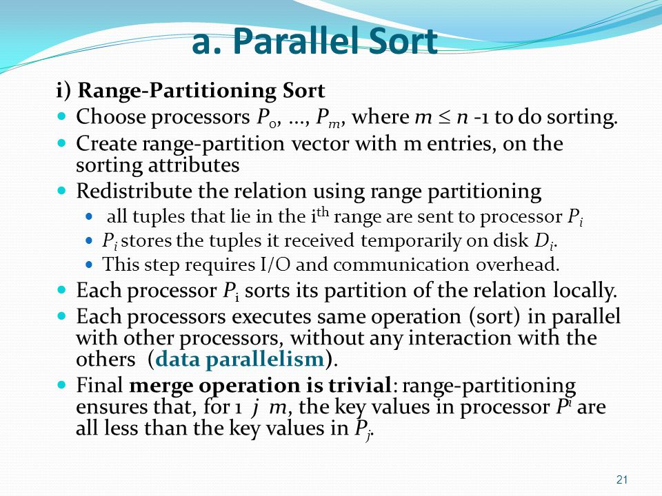 a. Parallel Sort i) Range-Partitioning Sort
