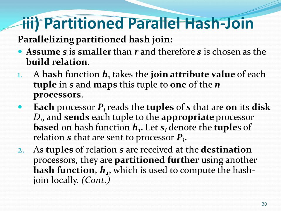 iii) Partitioned Parallel Hash-Join