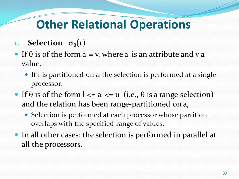 Other Relational Operations