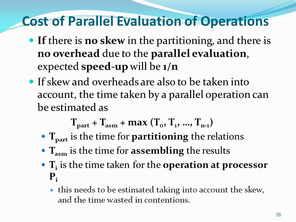 Cost of Parallel Evaluation of Operations