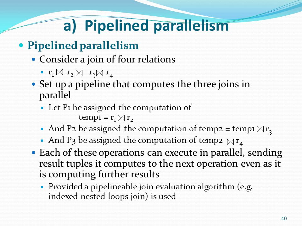 a) Pipelined parallelism