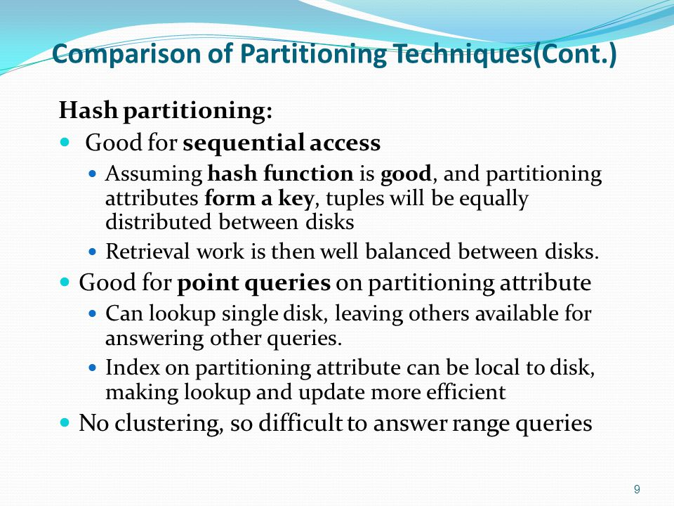 Comparison of Partitioning Techniques(Cont.)