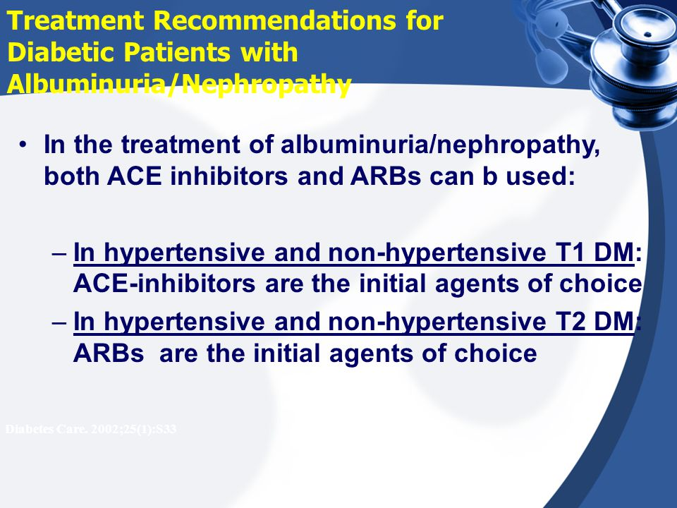 Treatment Recommendations for Diabetic Patients with Albuminuria/Nephropathy