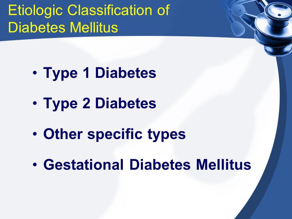 Etiologic Classification of Diabetes Mellitus