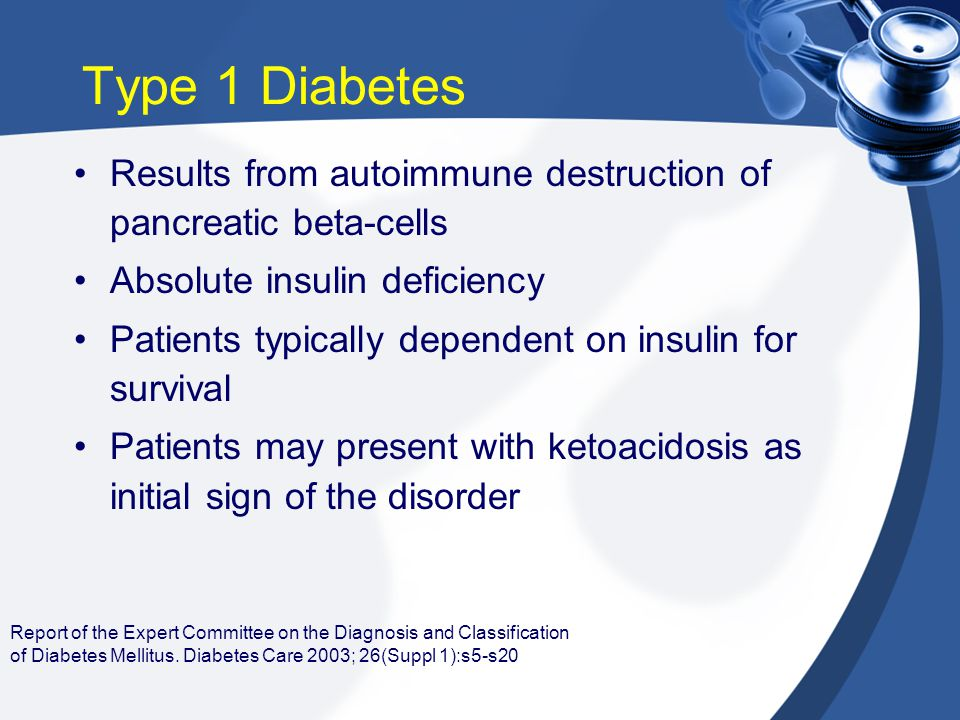 Type 1 Diabetes Results from autoimmune destruction of pancreatic beta-cells. Absolute insulin deficiency.