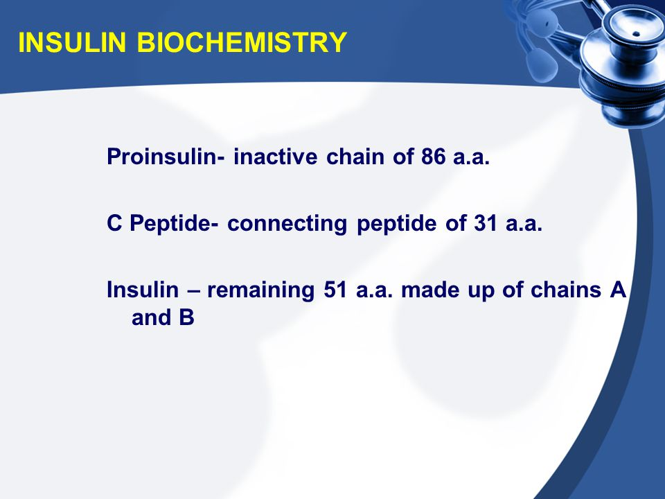 INSULIN BIOCHEMISTRY Proinsulin- inactive chain of 86 a.a.