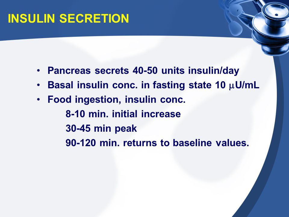INSULIN SECRETION Pancreas secrets 40-50 units insulin/day