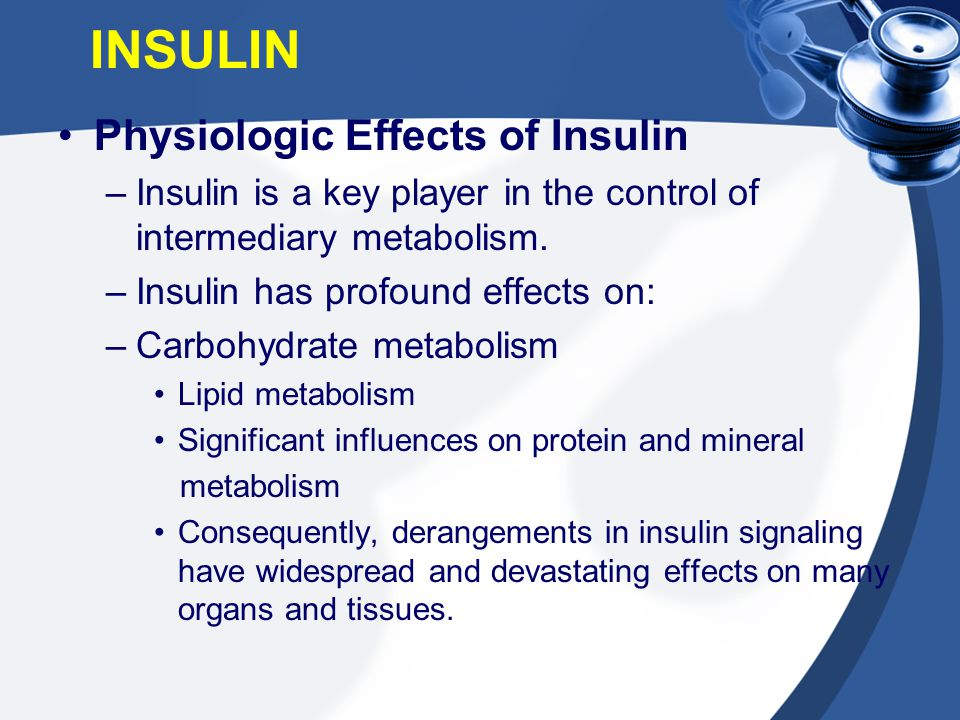 INSULIN Physiologic Effects of Insulin