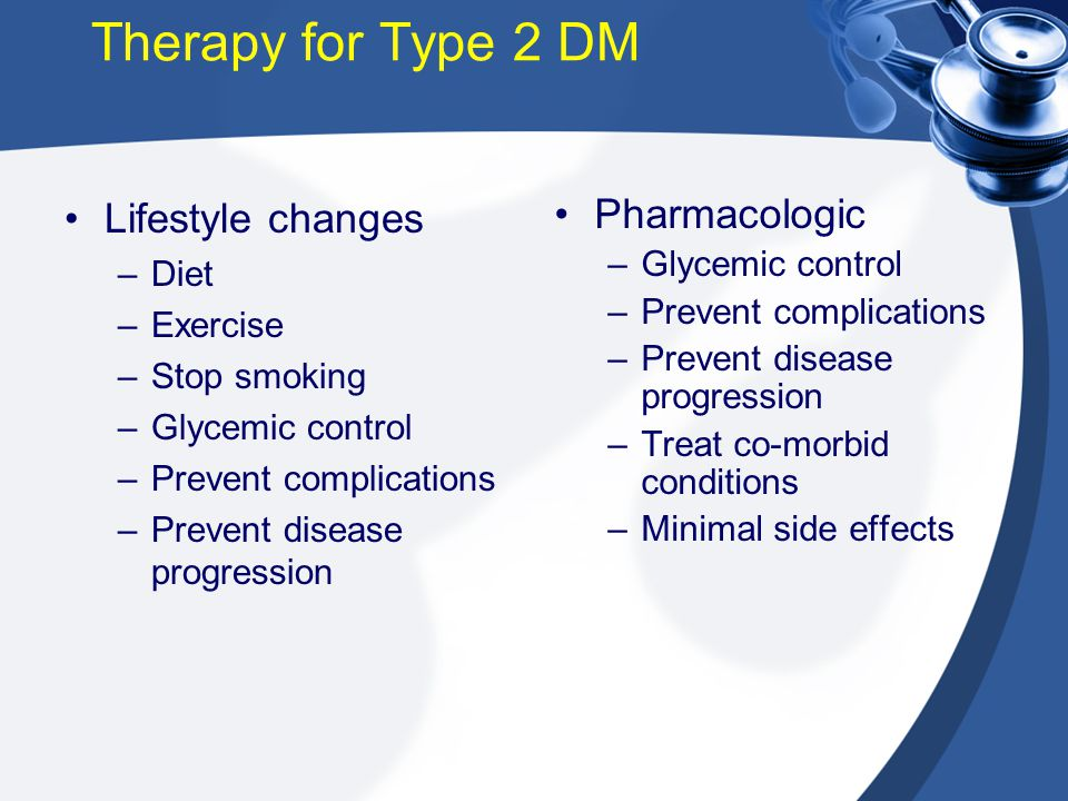 Therapy for Type 2 DM Lifestyle changes Pharmacologic Diet