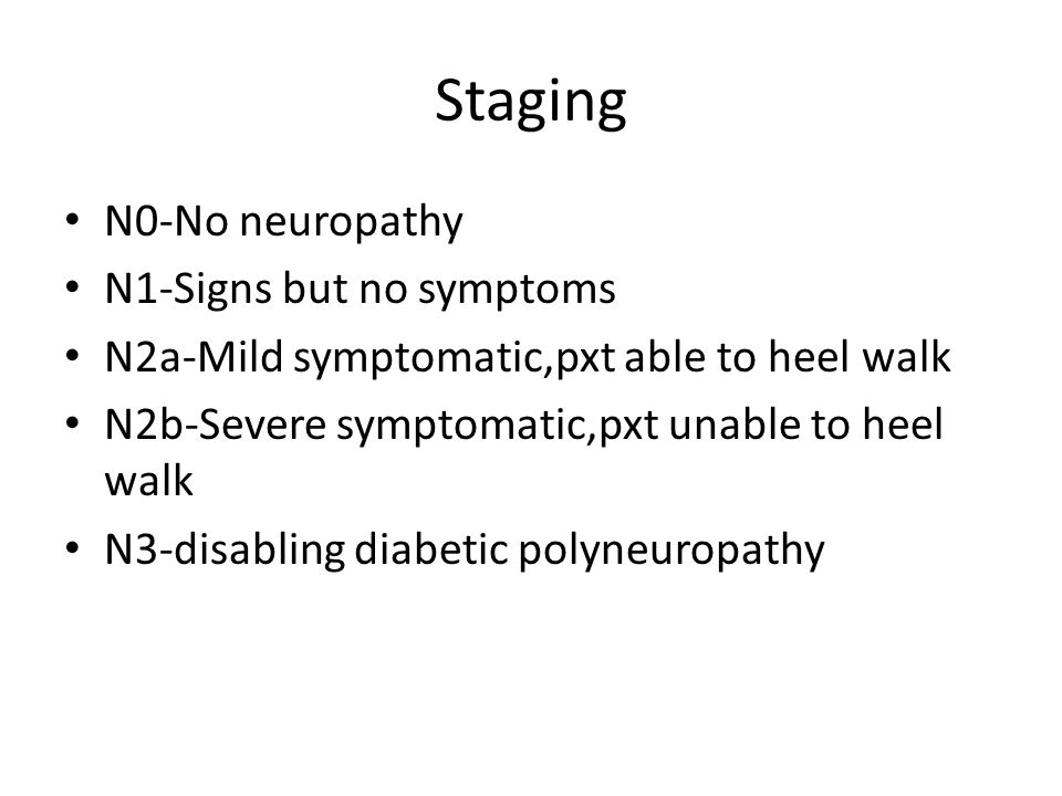 Staging N0-No neuropathy N1-Signs but no symptoms