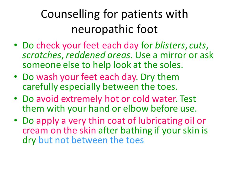 Counselling for patients with neuropathic foot
