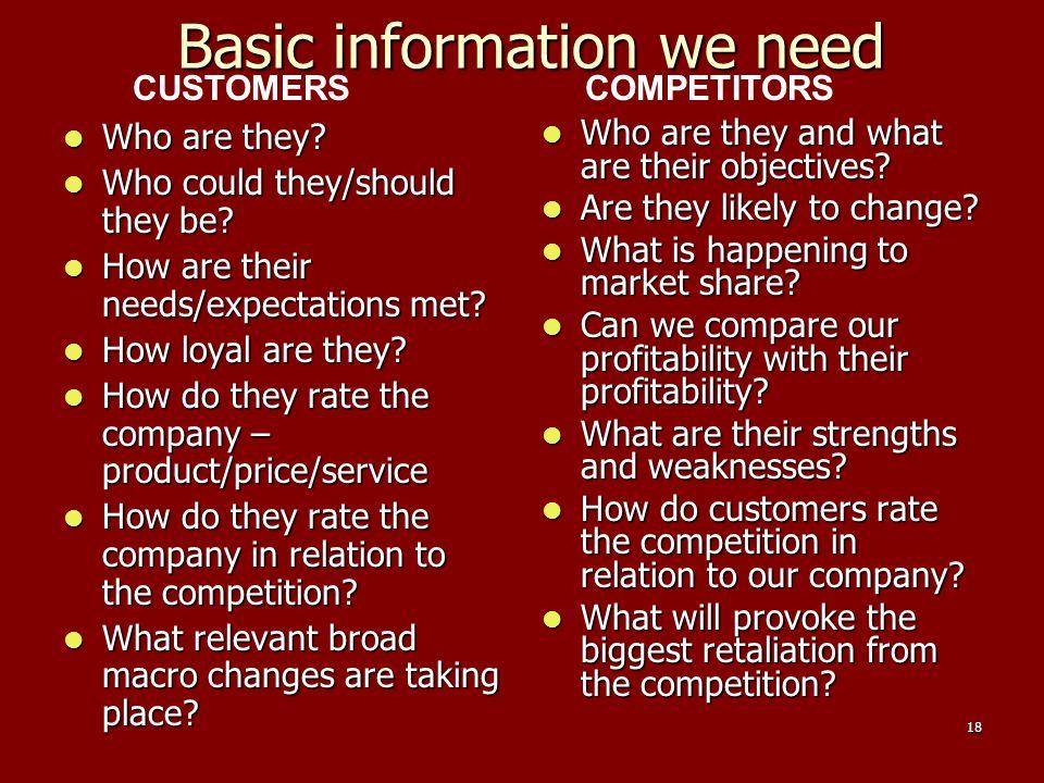 Basic information we need