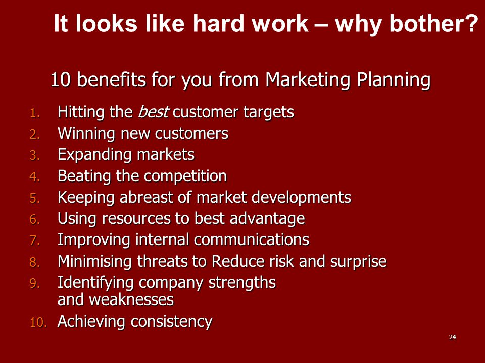 10 benefits for you from Marketing Planning