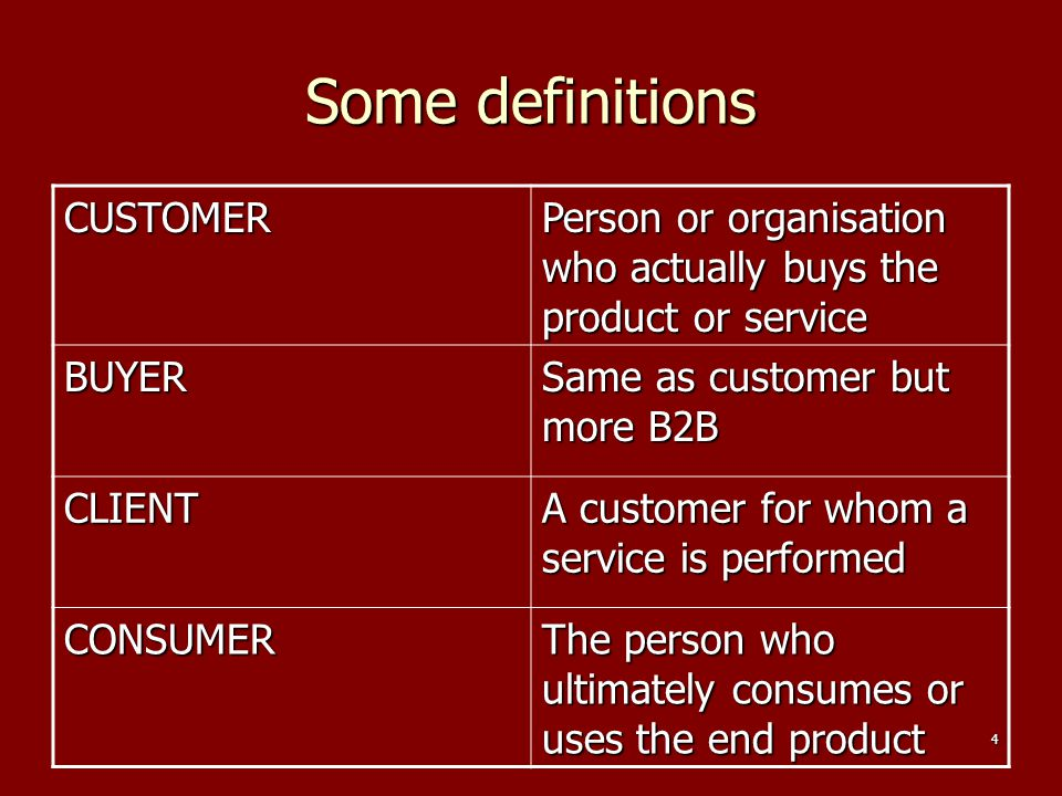 Some definitions CUSTOMER
