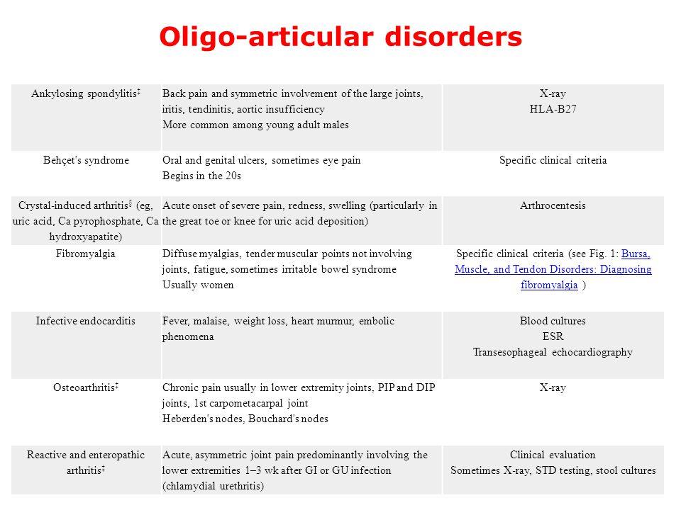 Oligo-articular disorders